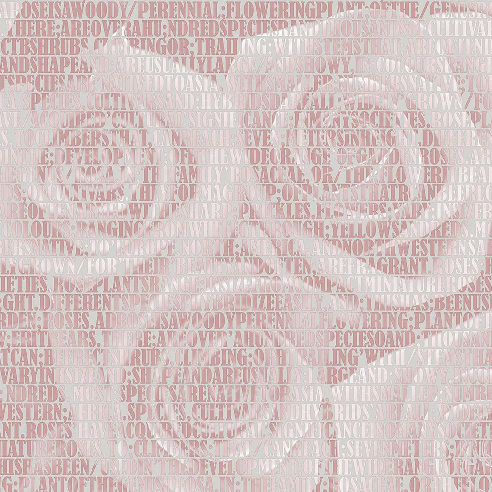 Giấy dán tườnG hàn Quốc họa tiết hoa hồng dạng chữ màu hồng nhạt