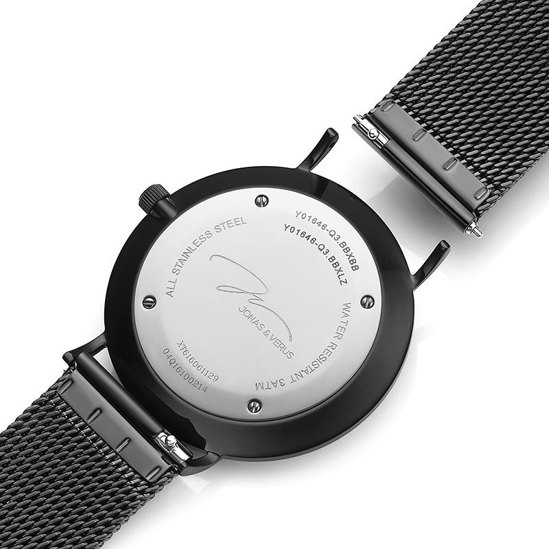 Đồng hồ đeo tay Nữ hiệu JONAS & VERUS X01646-Q3.BBWBB, Máy Pin (Quartz), Kính sappire chống trầy xước, Dây lưới thép không gỉ 316L