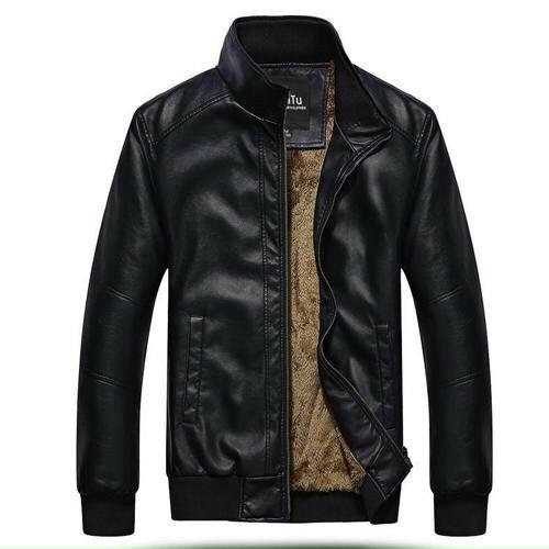 Áo khoác da nam tay thun lót lông thời trang cao cấp