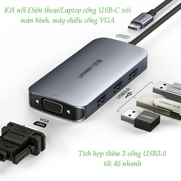 Type C To Hdmi + Usb 3.0*3 + Pd Power Converter Đen Cm136 - 50210 Ugreen (Hàng Chính Hãng)