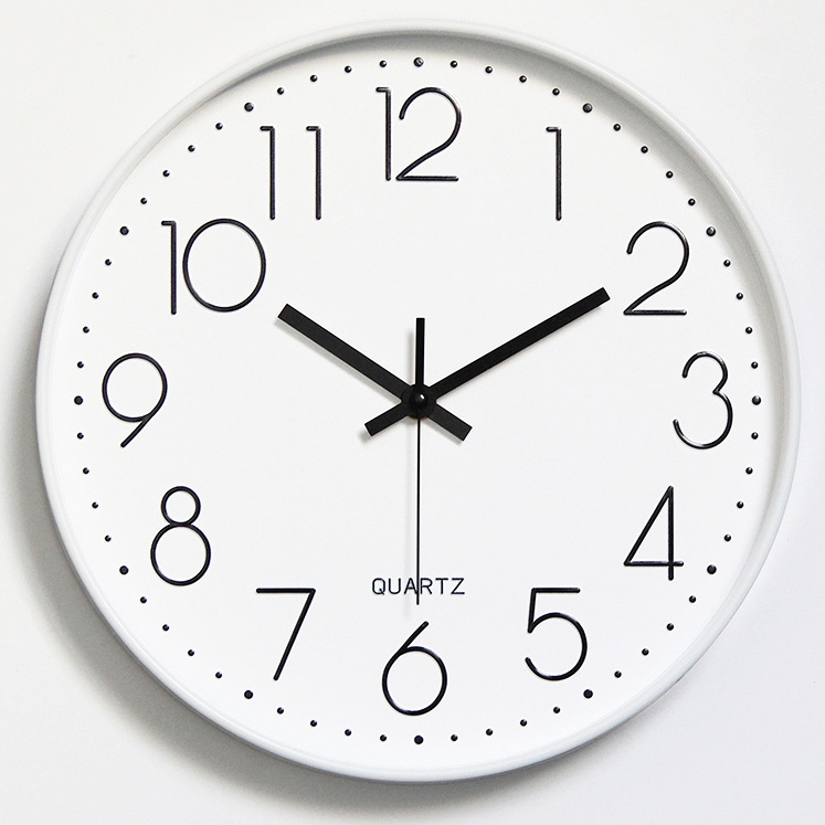 Đồng hồ treo tường tròn Quartz nhựa basic đính đá 30cm
