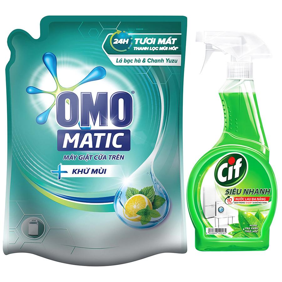Nước Giặt OMO Matic Khử Mùi Túi 2,3kg - Tặng Cif Siêu Nhanh 520ml
