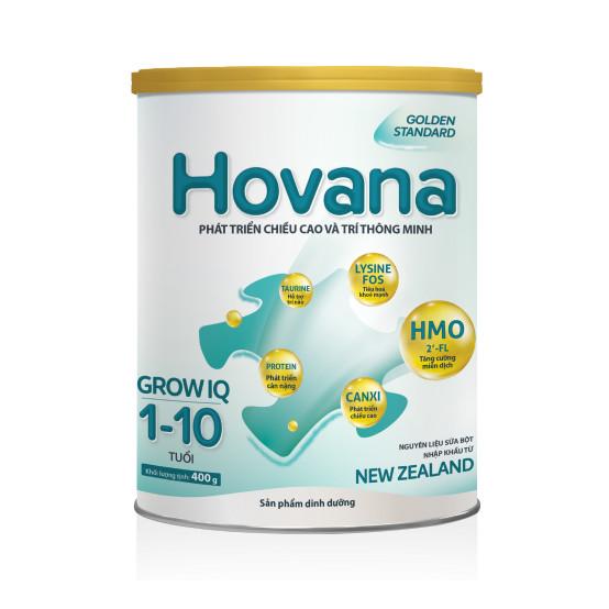 Sữa Bột Hovana Grow IQ 400gr Hỗ trợ tiêu hóa tốt, tăng miễn dịch, tăng cân tự nhiên cho bé 1 đến 10 tuổi