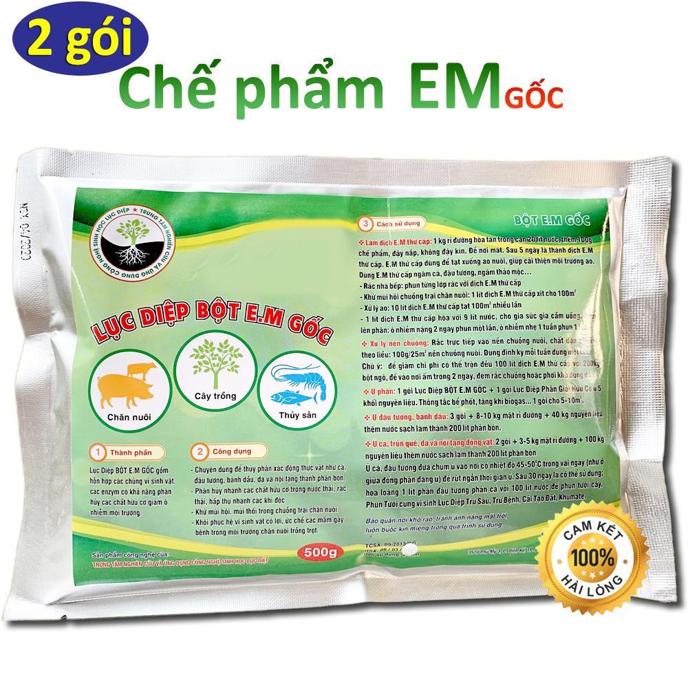 Combo 2 gói Chế phẩm sinh học EM gốc 500g - Chứa hàng tỷ vi sinh vật có lợi - Ủ rác bã hữu cơ làm phân bón - Xử lý mùi hôi