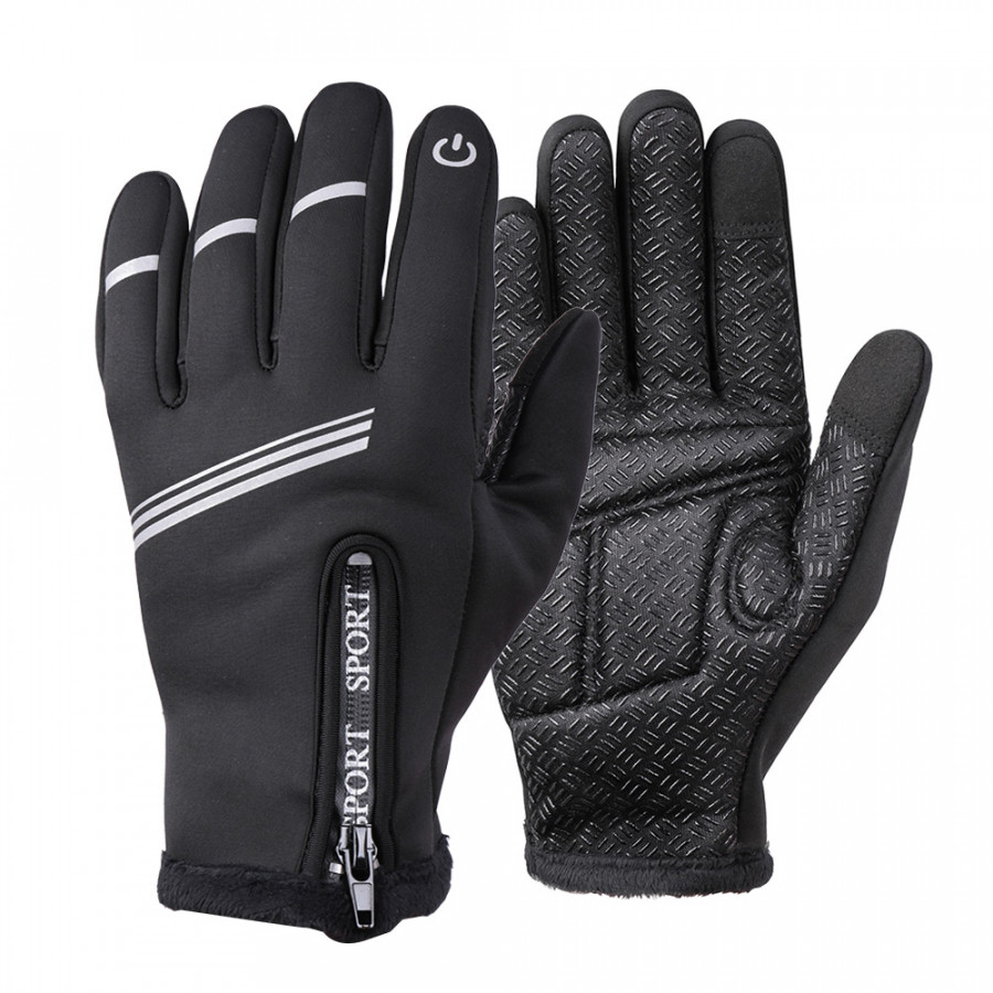 Winter Cycling Gloves Full Finger Touchscreen Anti-slip Bicycle Warm Gloves Windproof Waterproof Outdoor Skiing Skating Size 2&M