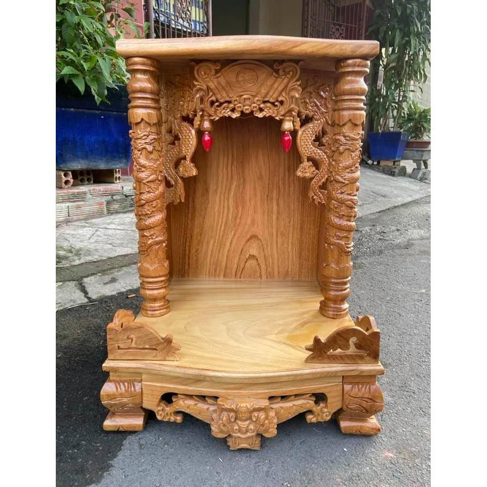 Bàn thờ thần tài gỗ gõ đỏ cột Rồng BTG48R