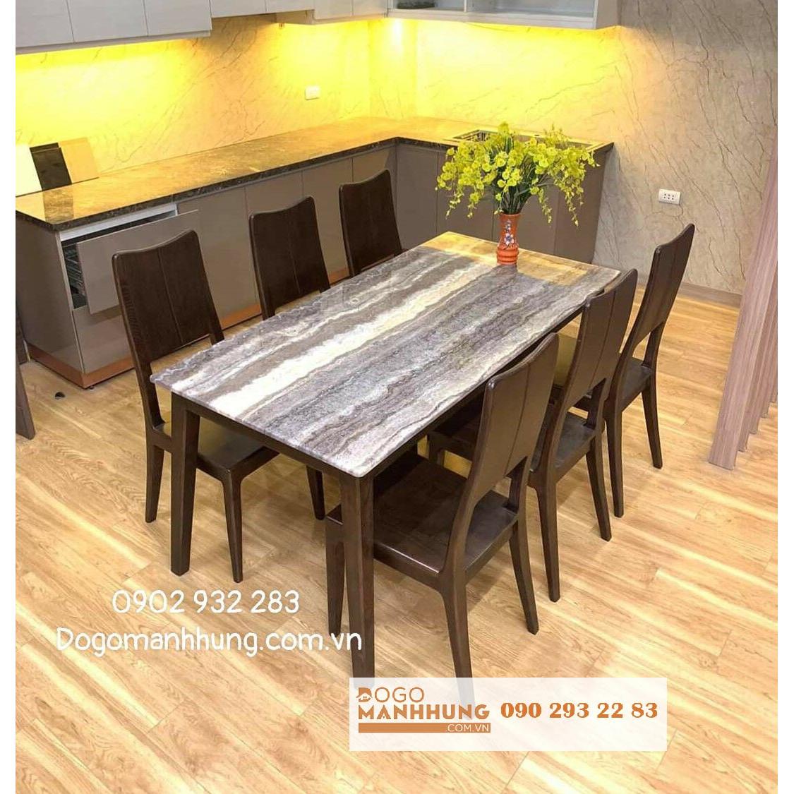 Bộ bàn ăn gỗ sồi mặt đá 6 ghế A109