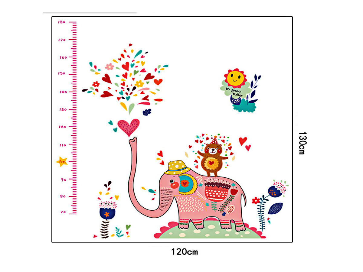 decal dán tường thước đo chiều cao cho bé thước đo voi hồng ngộ nghĩnh sk9036