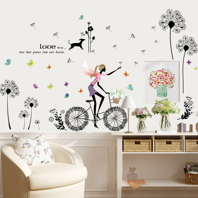 Decal dán tường flower with girl ZOOYOO XL8212