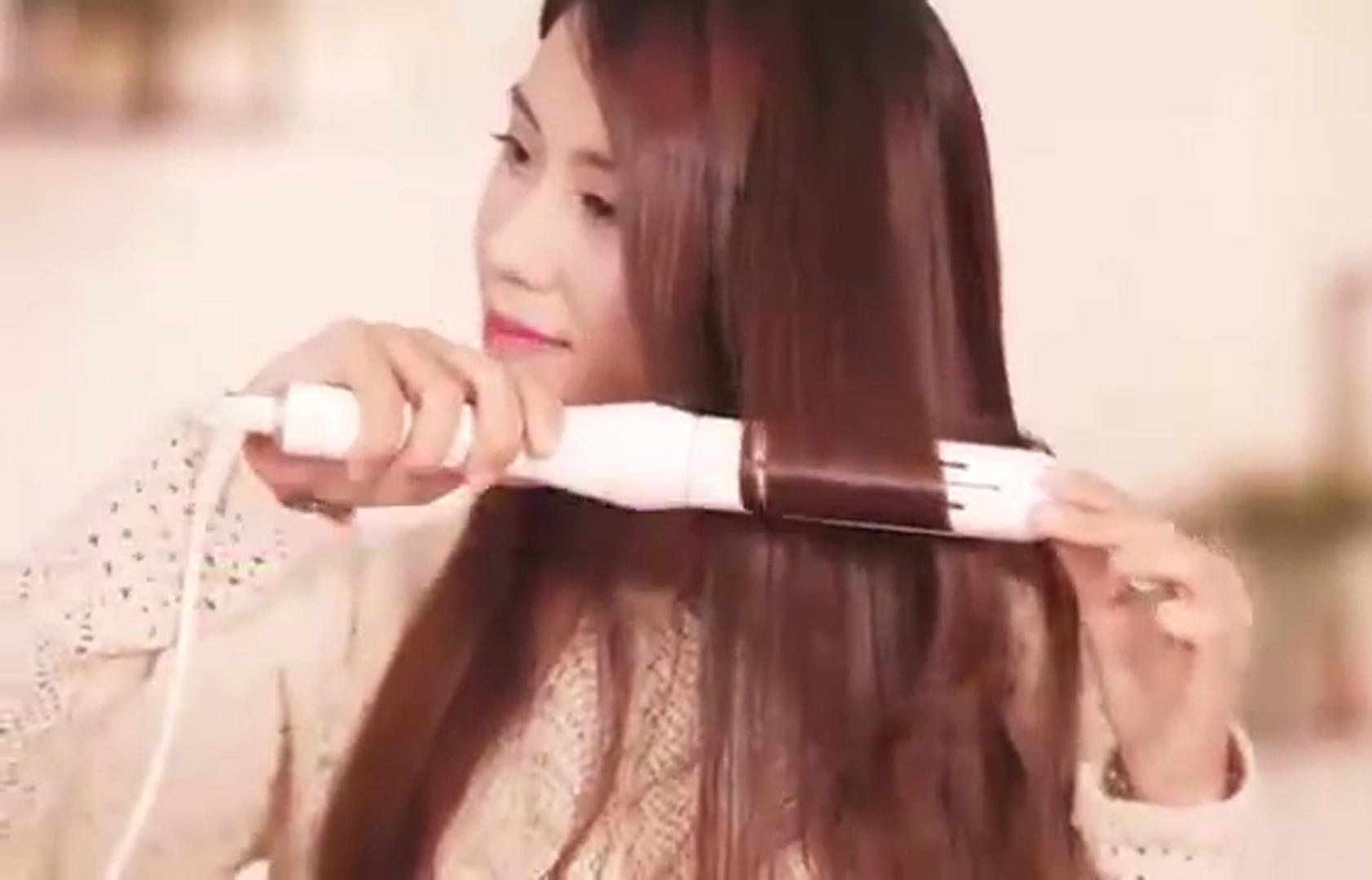 Máy ép duỗi tóc  lớn đa năng 2 trong 1 phong cách Hàn Quốc trắng lưỡi ép hồng  -DMCTB165