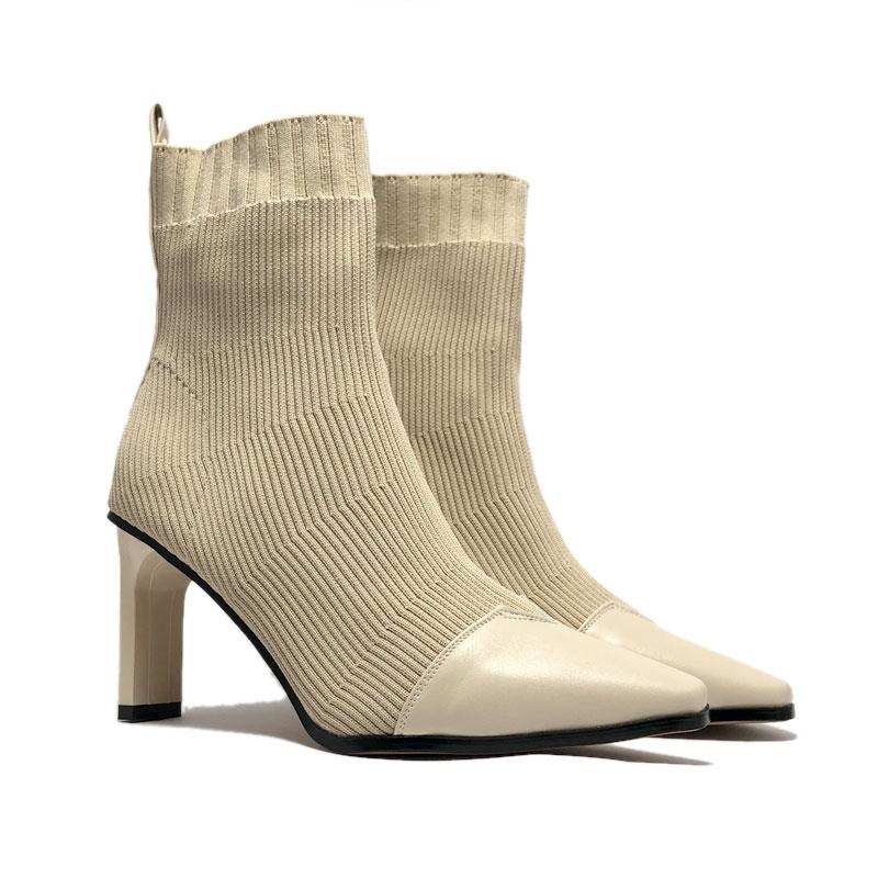 Boots nữ, 7 cm, len vá mũi da BOOTS16