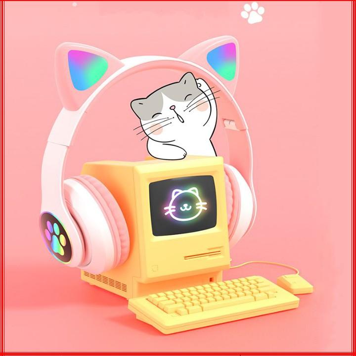 Tai Nghe Bluetooth Chụp Tai Có Mic Đàm Thoại hình Tai Mèo Dễ Thương Có Led Đổi Màu