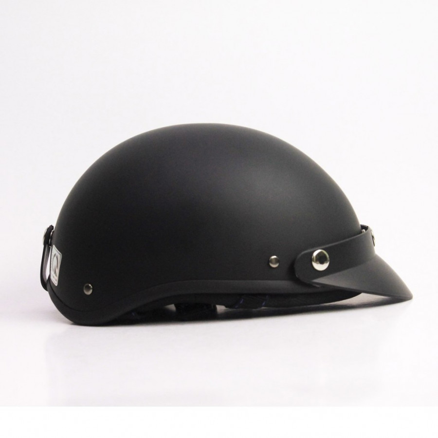 Mũ Bảo Hiểm Nửa Đầu Đen Trơn - Nón Phượt