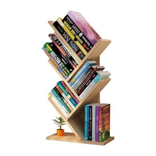 Kệ sách hình cây, xương cá 5 tầng (gỗ vàng)