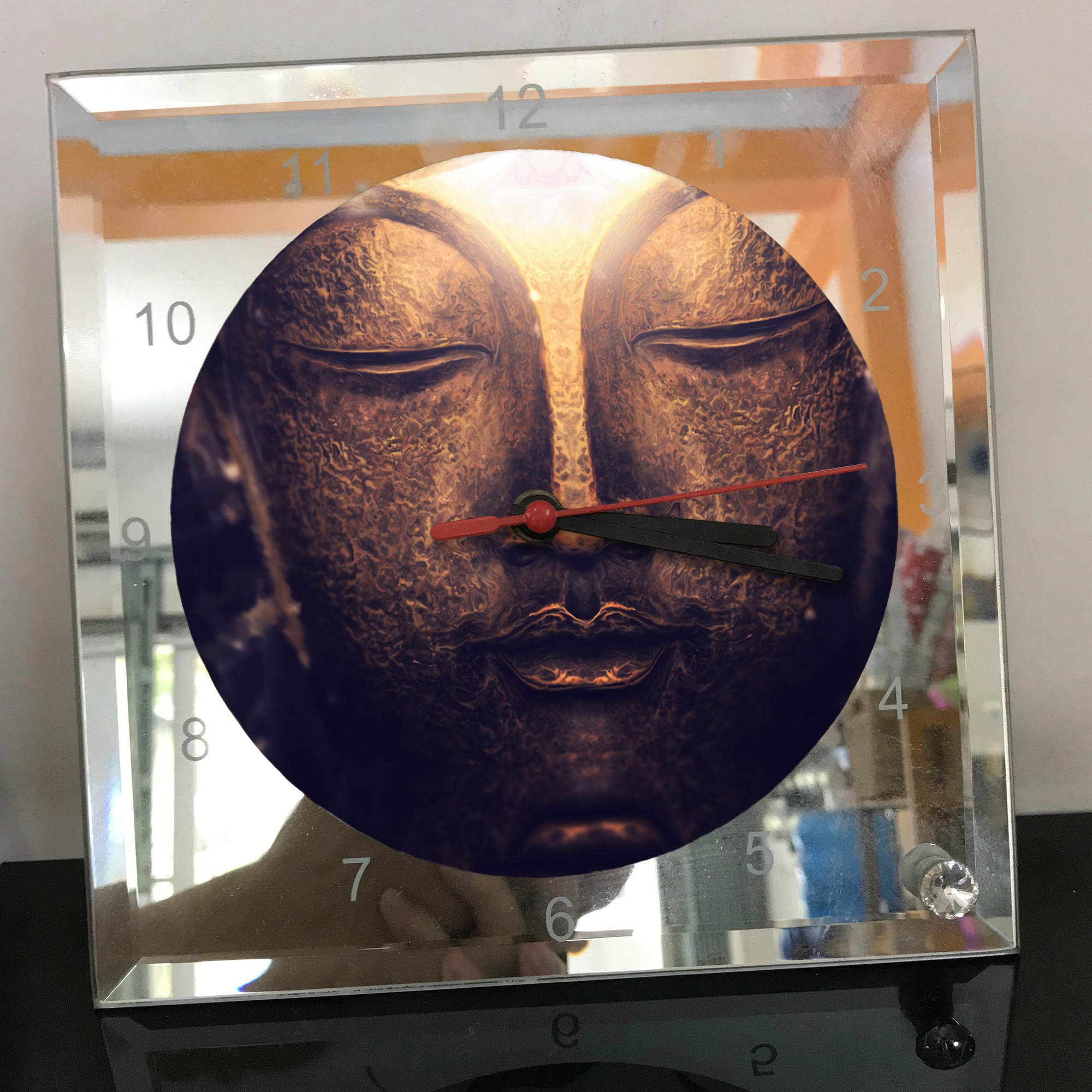 Đồng hồ thủy tinh vuông 20x20 in hình Buddhism - đạo phật (61) . Đồng hồ thủy tinh để bàn trang trí đẹp chủ đề tôn giáo