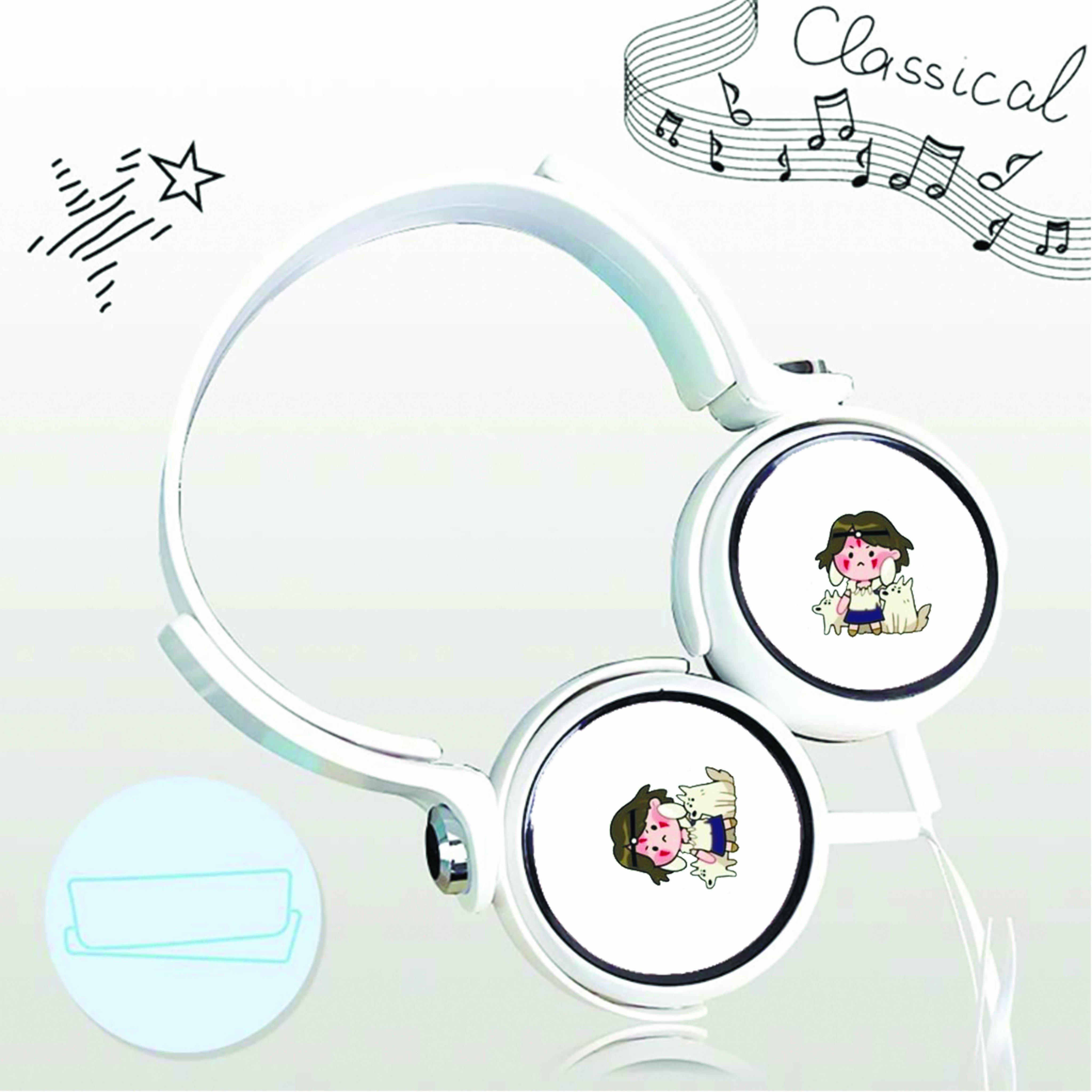 Tai nghe chụp in hình Momonoke - Công Chúa Sói anime chibi cắm dây có mic