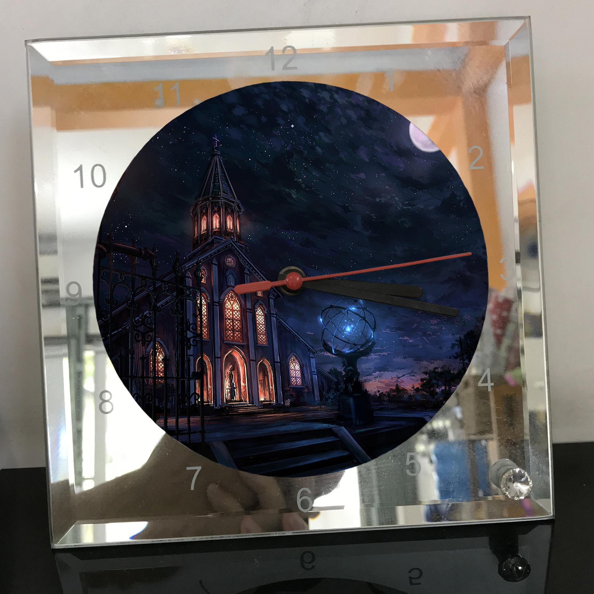 Đồng hồ thủy tinh vuông 20x20 in hình Church - nhà thờ (250) . Đồng hồ thủy tinh để bàn trang trí đẹp chủ đề tôn giáo