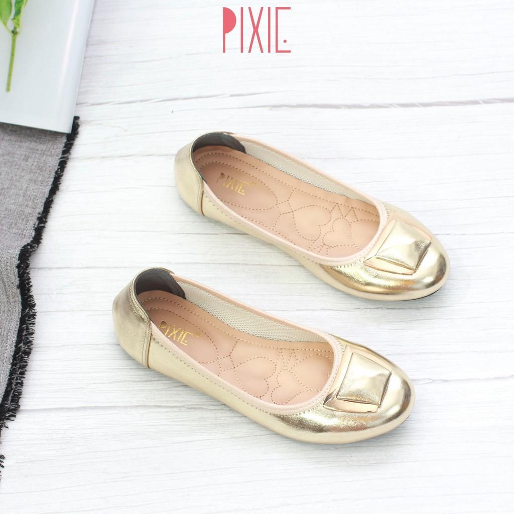 Giày Búp Bê Mũi Tròn Gắn Khoá Lót Đệm Êm Chân Pixie X602