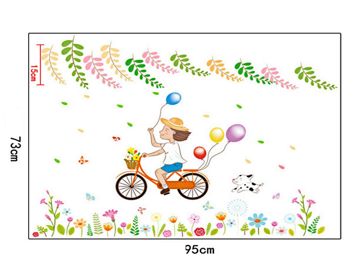 decal dán tường bé trai đạp xe cầm bóng bay sắc màu