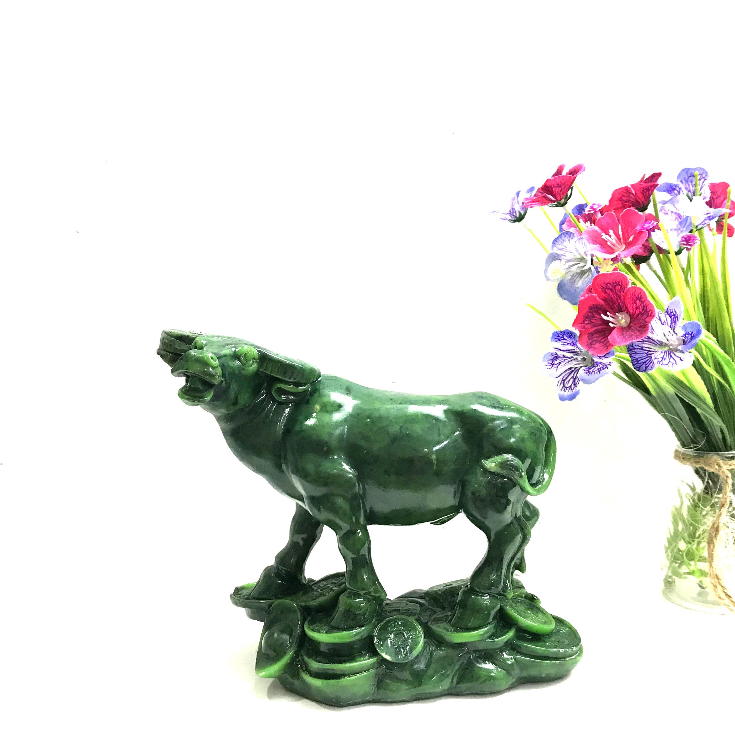 Tượng Đá Trang Trí Trâu Phong Thủy - Cao 16cm - Màu Xanh Ngọc Bích - Đá Composite