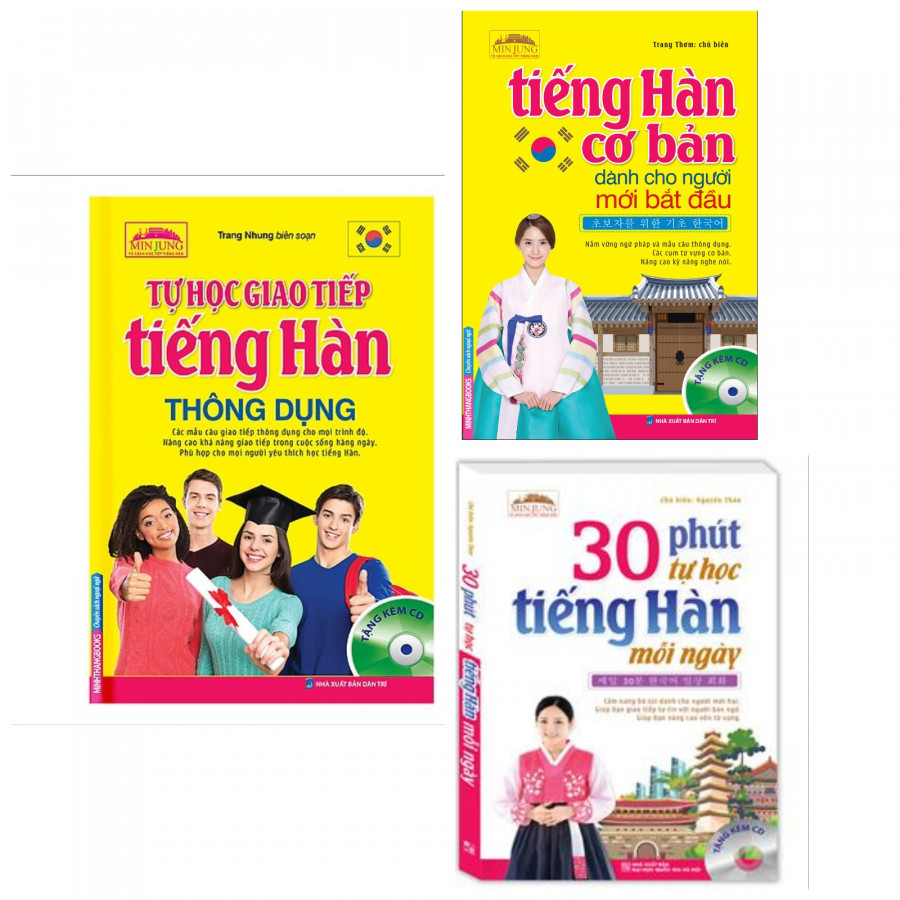 Combo Sách Học Tiếng Hàn Tự Học Giao Tiếp Tiếng Hàn Thông Dụng  Tiếng Hàn Cơ Bản Dành Cho Người Mới Bắt Đầu  30 Phút Tự Học Tiếng Hàn Mỗi Ngày-Tặng Bookmark PĐ