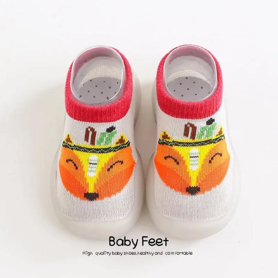 Giày bún tập đi cho bé hình họa tiết chống trượt 2021