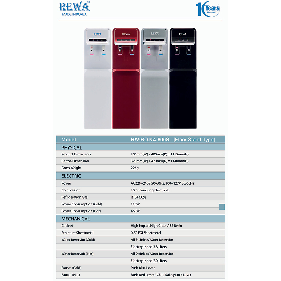 Máy Lọc Nước Nóng Lạnh Công Nghệ RO Hàn Quốc REWA - RW-RO-800.SILVER- Hàng chính hãng