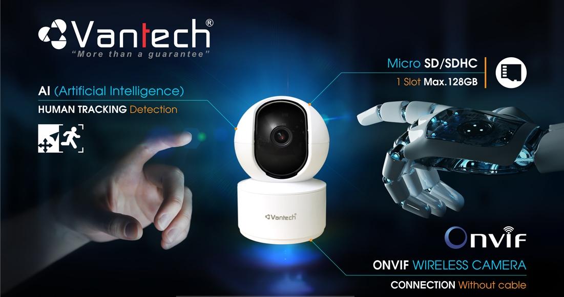 Vantech Camera Onvif Wifi Pan/Tilt Robot 4.0MP AI-V2010C - Hàng chính hãng