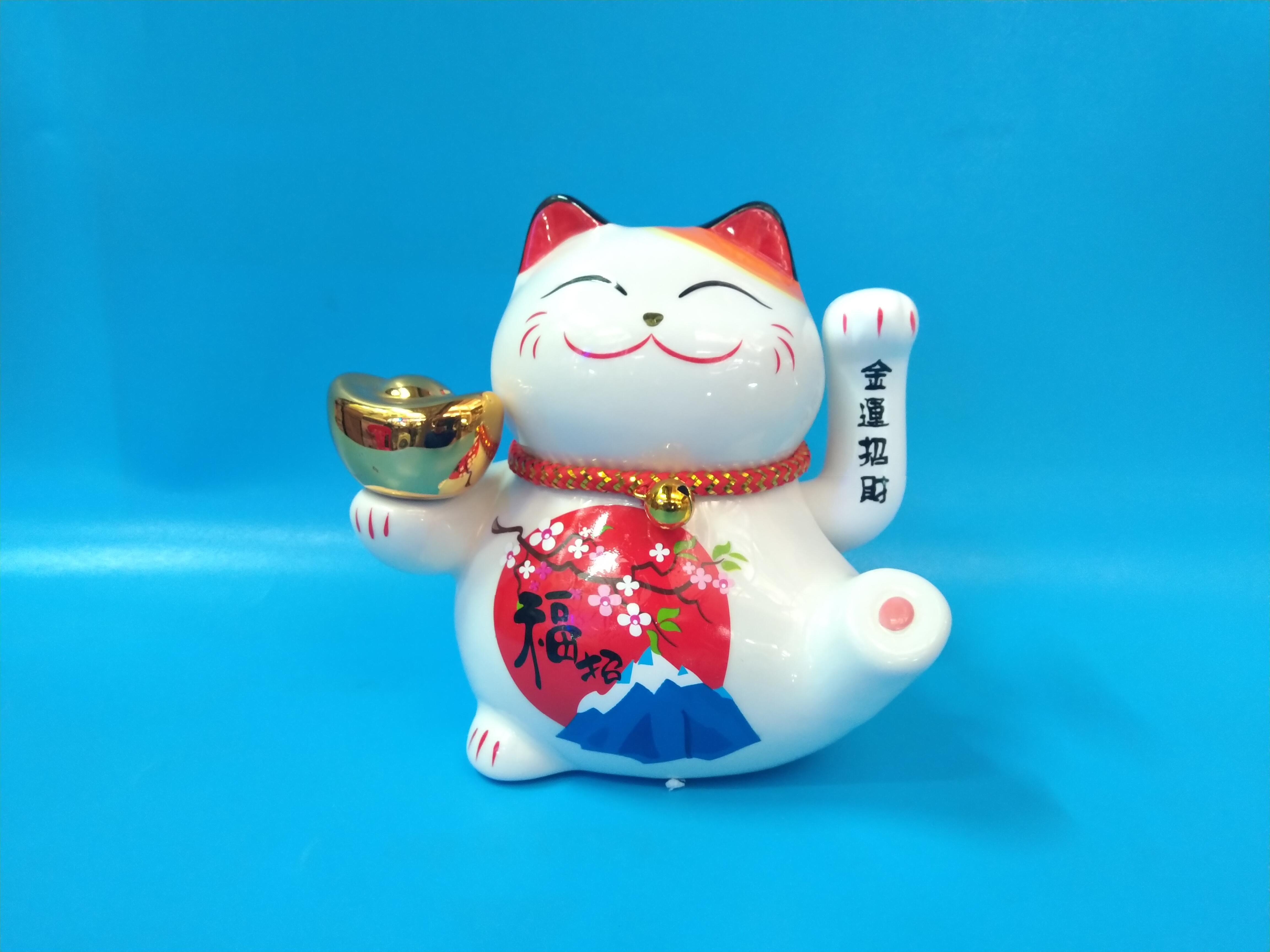 Mèo thần tài bằng sứ cao cấp  xài pin hoặc điện-giao mẫu ngẫu nhiên