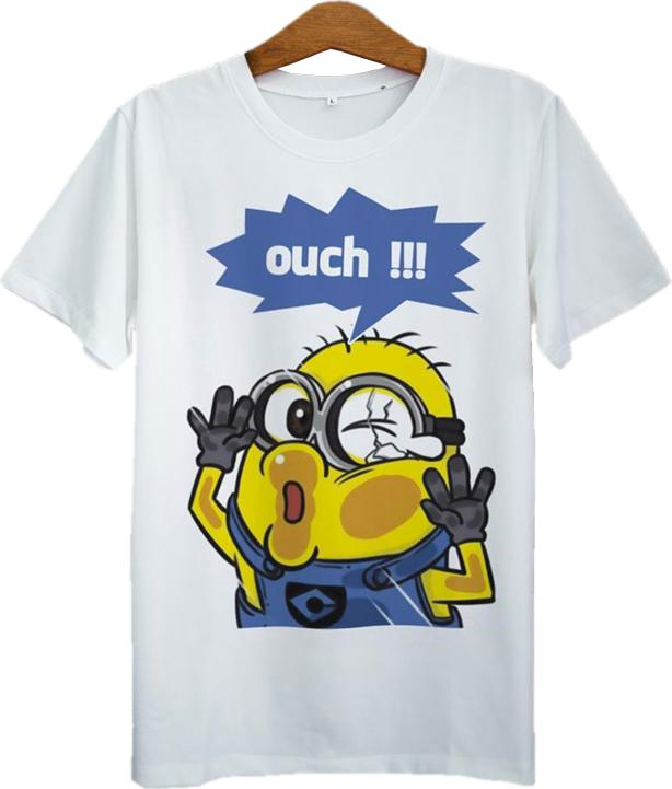 Áo Thun Unisex In Minion Ouch ASFU018 - Trắng Size L