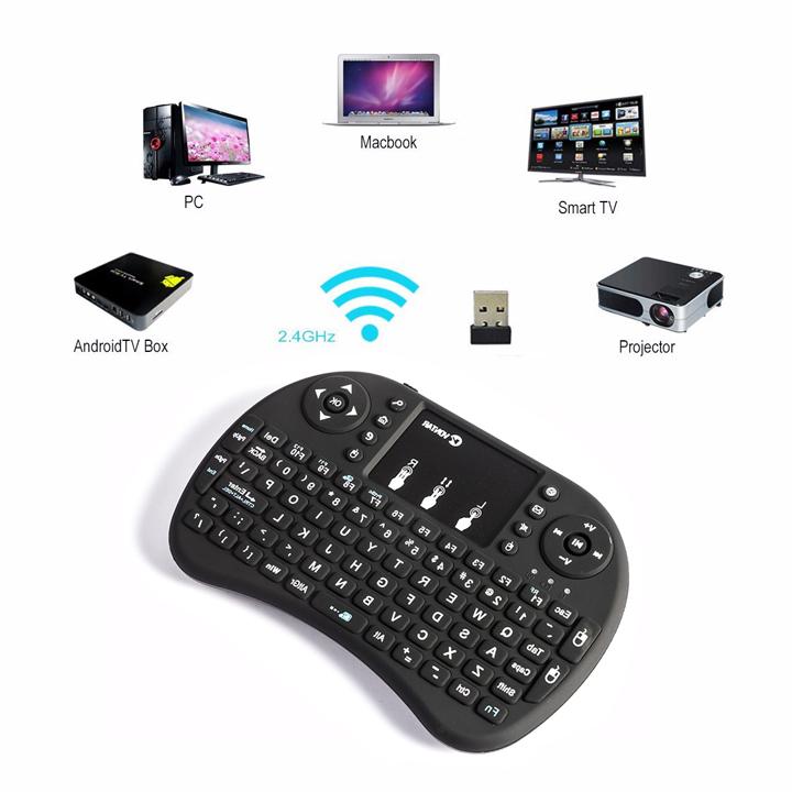 Bàn phím kiêm chuột không dây mini cho tivi box, smart tivi UKB-500RF có đèn led