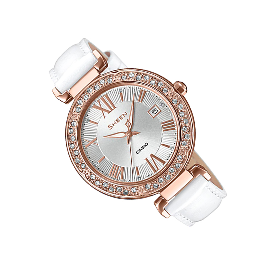 Đồng hồ nữ dây da Casio Sheen chính hãng SHE-4057PGL-7AUDF