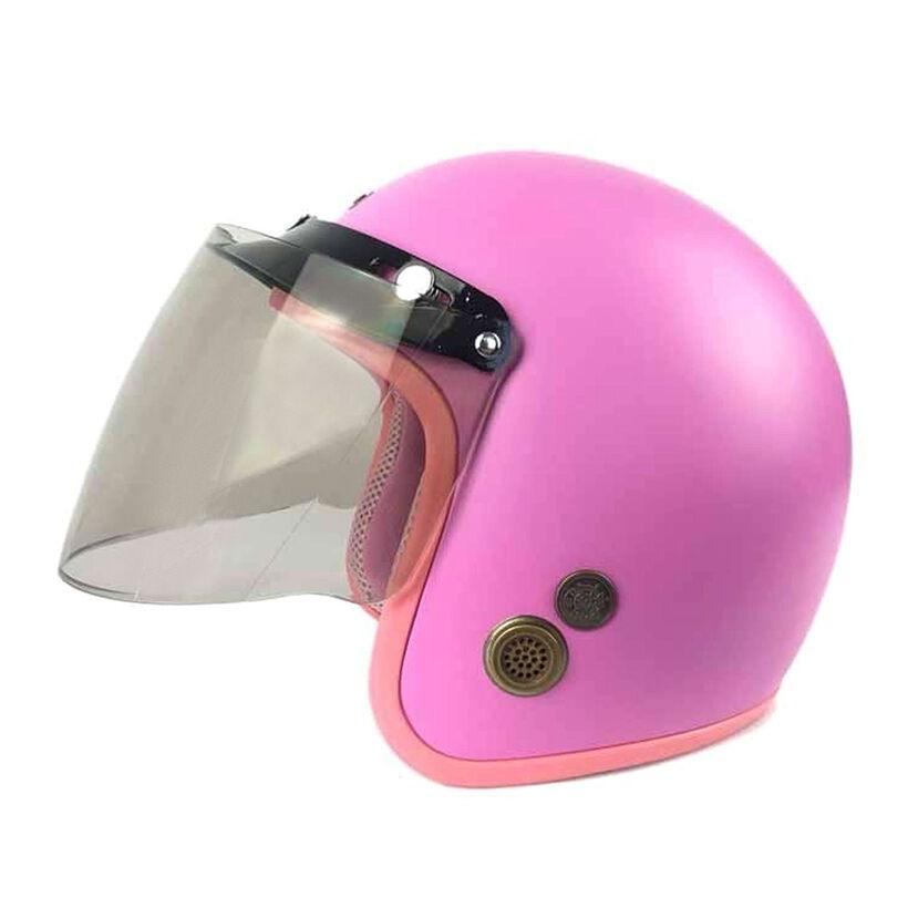 Mũ Bảo Hiểm Đẹp 3/4 lót màu Hồng lót hồng N033 có kính _ Mũ bảo hiểm phượt có kính chắn gió, chống bụi_ Kèm kính màu ngẫu nhiên