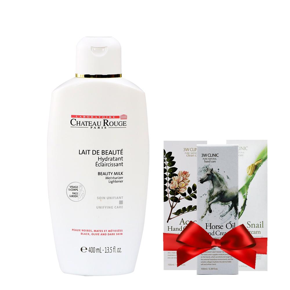 Sữa Dưỡng Kích Trắng Da Toàn Thân CHATEAU ROUGE Lait De Beaute Soin Unifiant 400ml  Tặng 1 Kem dưỡng da tay 3W Clinic 100ml Mùi ngẫu nhiên - 23678652 , 7750528699110 , 62_21537787 , 550000 , Sua-Duong-Kich-Trang-Da-Toan-Than-CHATEAU-ROUGE-Lait-De-Beaute-Soin-Unifiant-400ml-Tang-1-Kem-duong-da-tay-3W-Clinic-100ml-Mui-ngau-nhien-62_21537787 , tiki.vn , Sữa Dưỡng Kích Trắng Da Toàn Thân CHAT