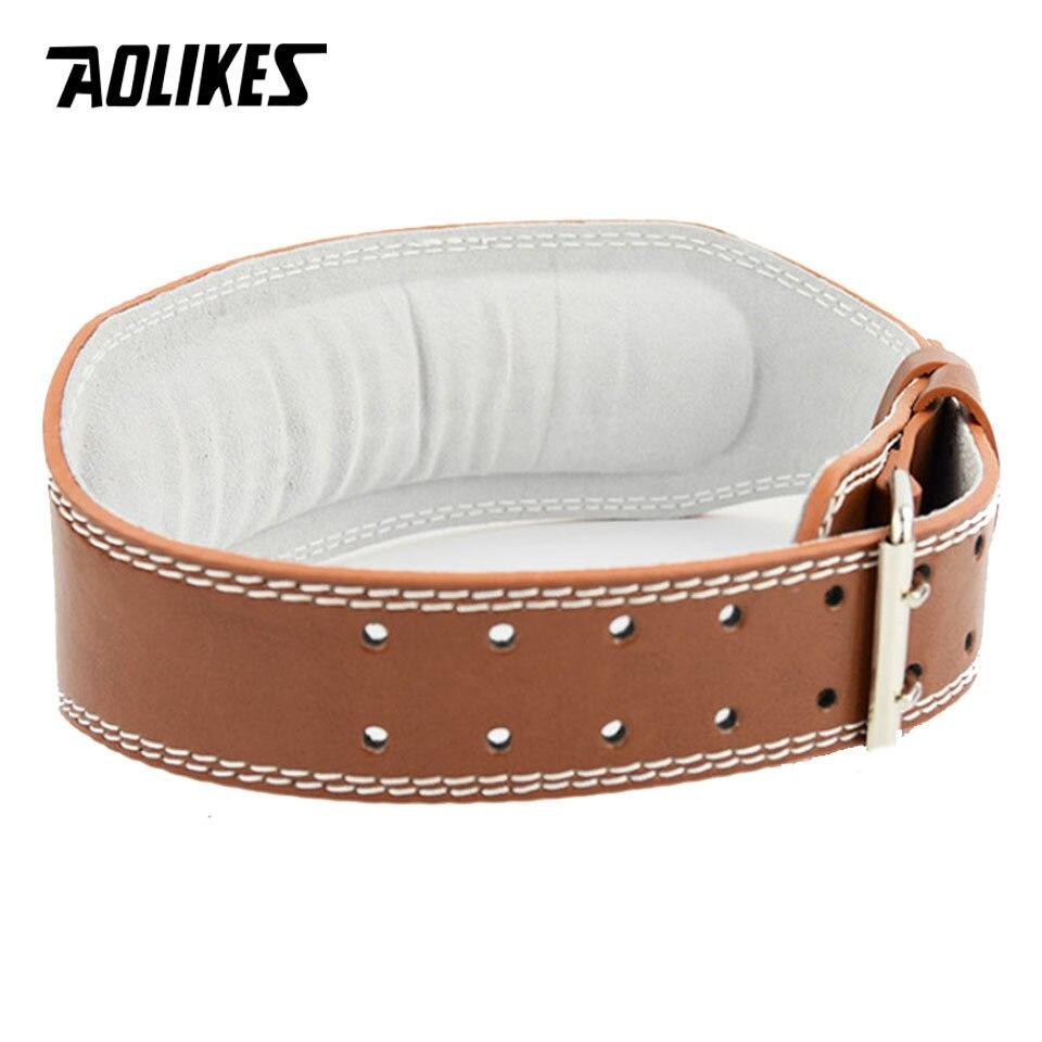 Đai lưng cứng tập Gym AOLIKES YE-YX048 da bò thật có đệm weightlifting belt - Hàng Chính Hãng