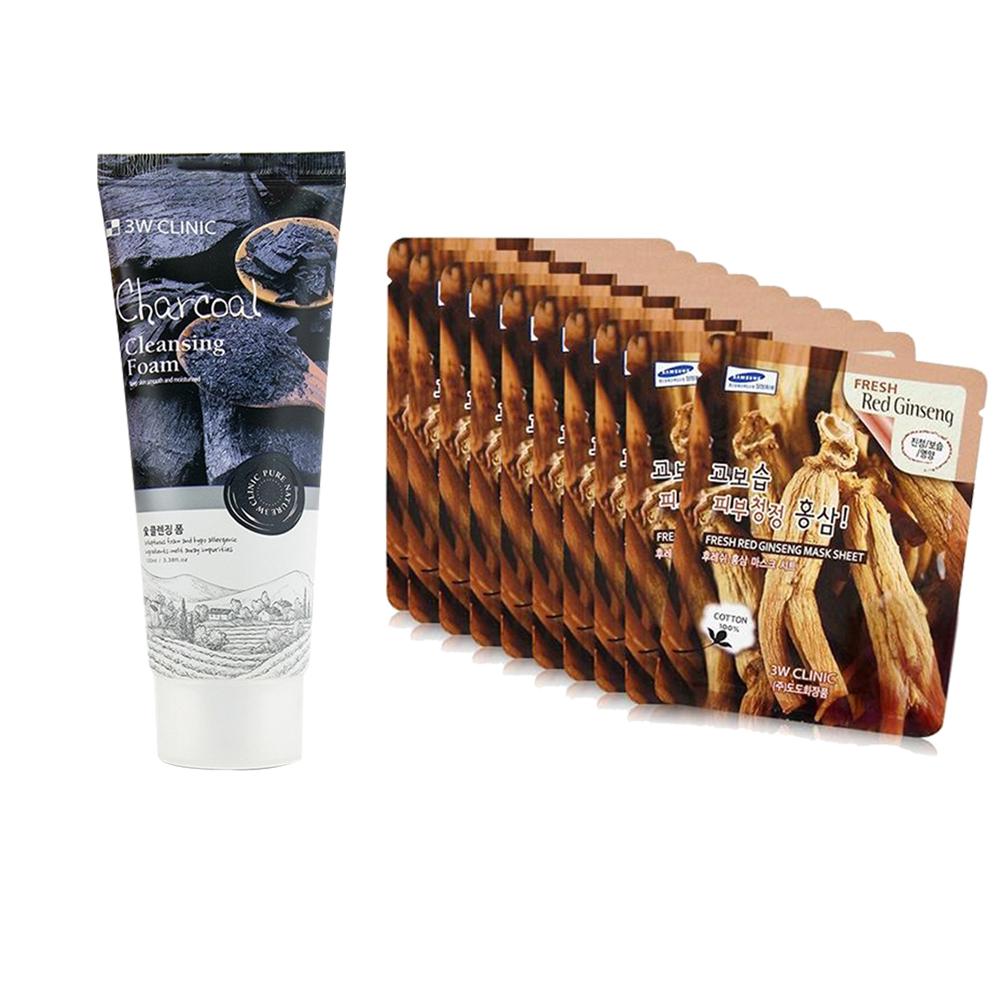 Combo Sữa rửa mặt chiết xuất từ than hoạt tính 3W CLINIC CHARCOAL CLEANSING FOAM và bộ 10 Gói Mặt Nạ Tái Tạo Da Từ Collagen 3w Clinic Fresh Collagen Mask Sheet
