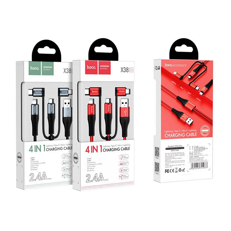 Cáp sạc nhanh và truyền dữ liệu tốc độ cao Hoco X38 đa năng 4 đầu 2 x Lightning, Micro-USB, Type-C - Hàng chính hãng