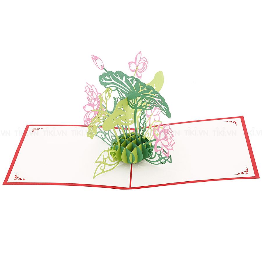 Thiệp Nổi 3D Ninrio - Lotus Small BT043 (15 x 15 cm) - Màu Ngẫu Nhiên