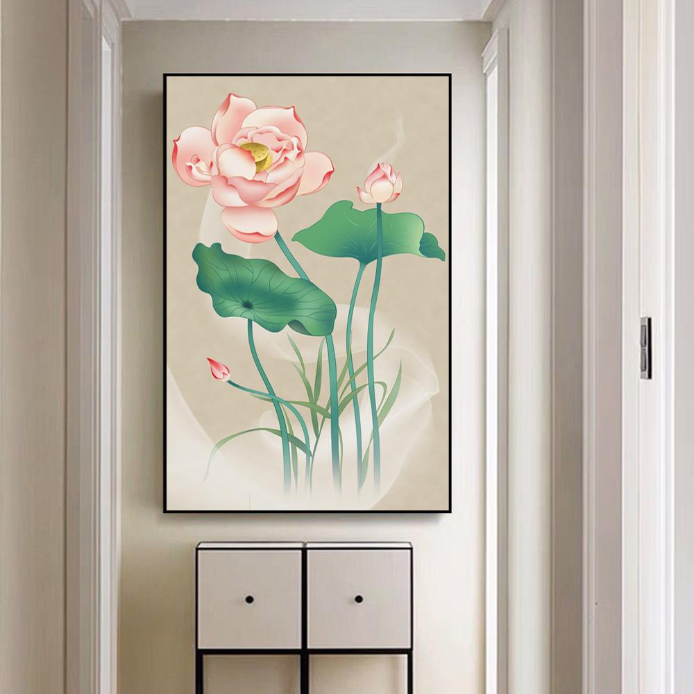Tranh canvas treo tường - Tranh hoa sen hành lang , phòng khách hiện đại  - Xưởng tranh treo tường CA182 - Tặng kèm livô bọt thủy