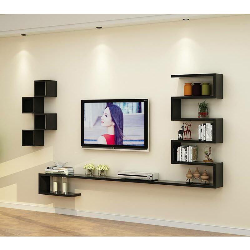 Bộ Kệ TiVi Treo Tường ZicZac kèm 4 ô vuông - TV03/HOMEDECOR
