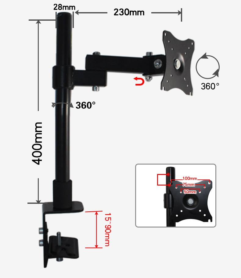 Giá treo màn hình xoay 360 độ - Chân đứng - Tay dài 23 cm, kẹp bàn, hàng nhập khẩu