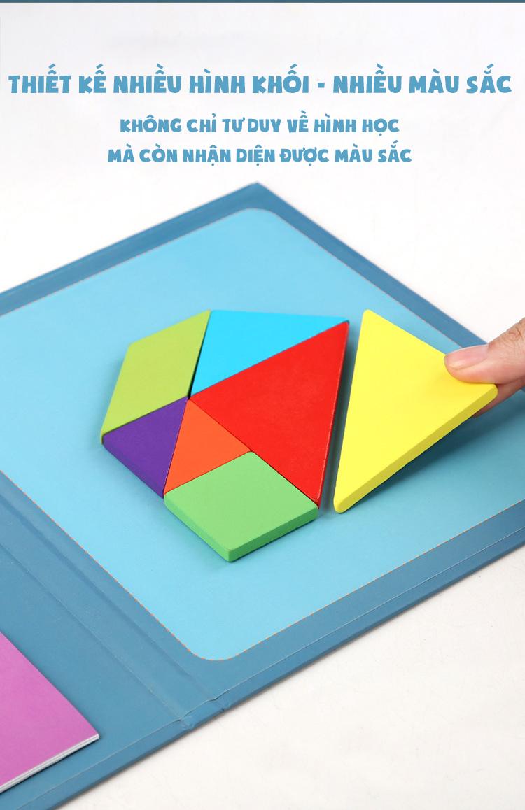 Bộ sách đồ chơi giáo dục trẻ em lắp ráp hình theo mẫu giải câu đố bằng gỗ sách sáng tạo từ tính tangram - Dành cho trẻ từ 3 tuổi