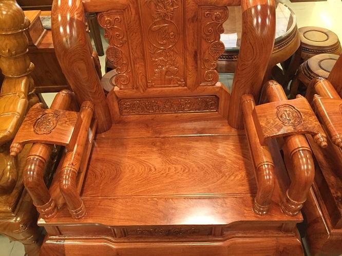 Bộ bàn ghế tần thuỷ hoàng gỗ hương đá tay 12, 6 món