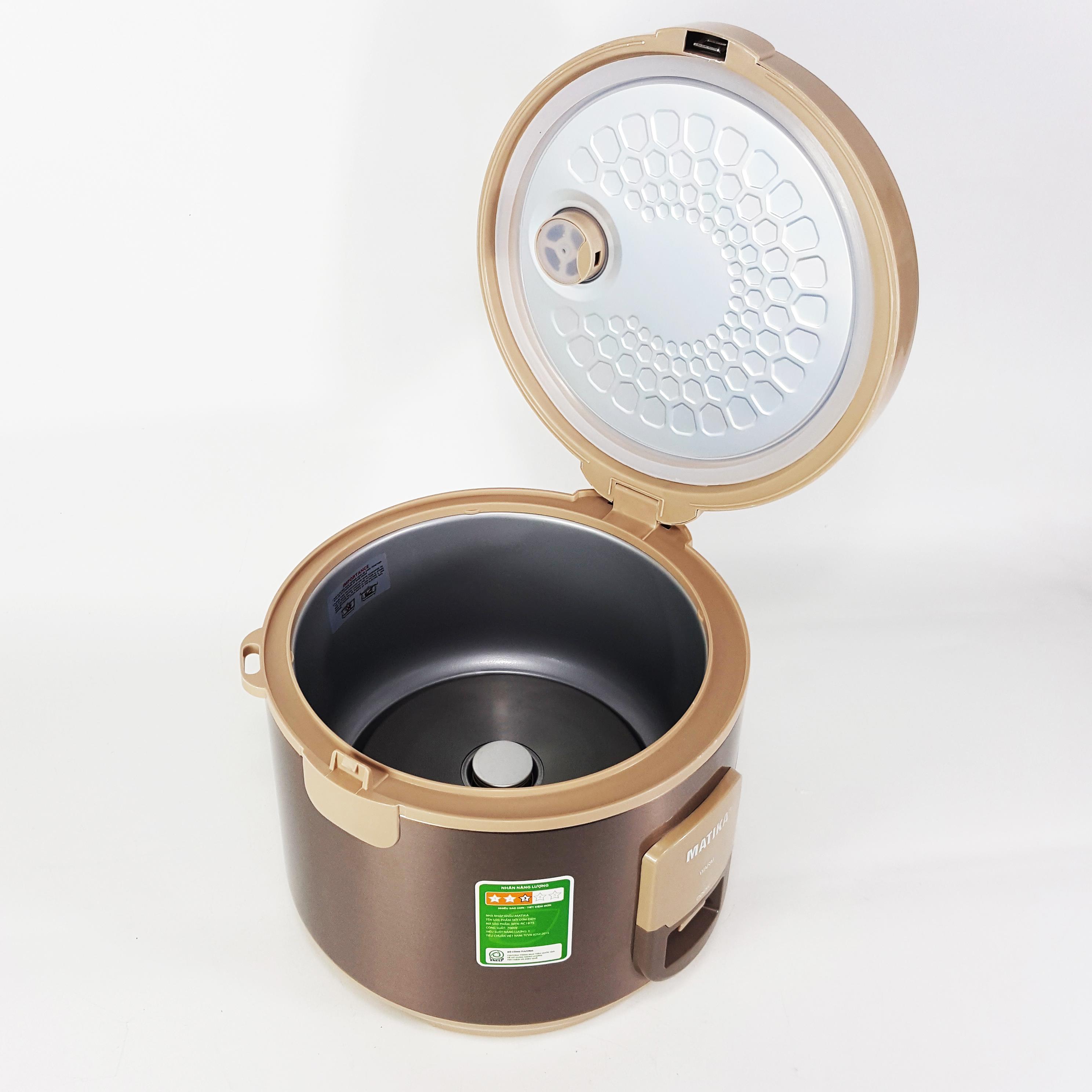 Nồi cơm điện Matika MTK-RC1875 (1,8 lít) chất liệu cao cấp cho cơm ngon tròn vị (Hàng chính hãng)