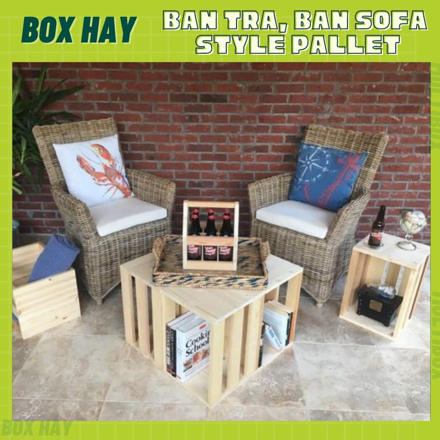 Bàn Trà, Bàn Sofa Lắp Ráp Từ 4 Thùng Gỗ Pallet Trang Trí Phòng Khách, Bàn Ngồi Ban Công Thay Đổi Bố Trí Đa Năng