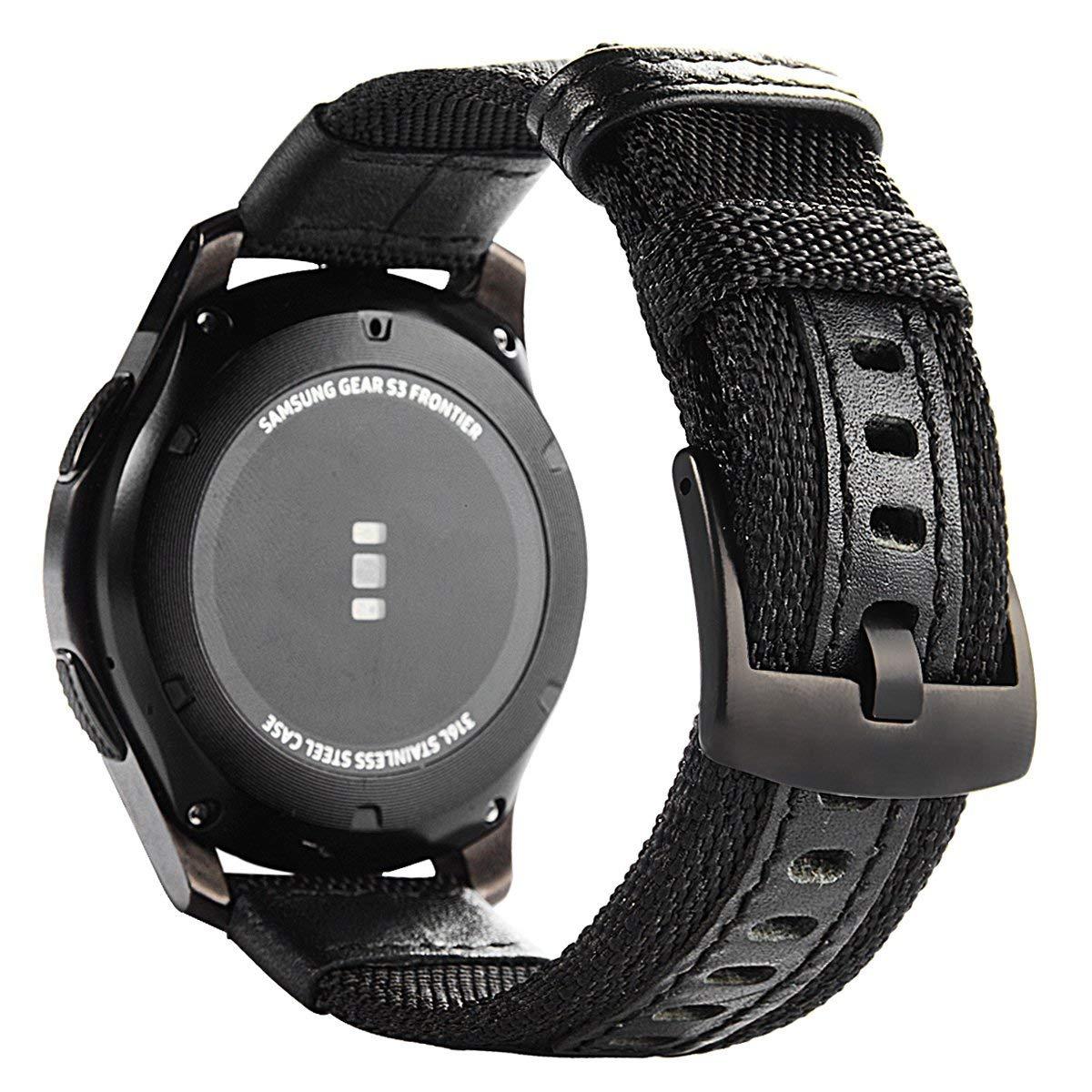 Dây đồng hồ 22mm  vải da cho đồng hồ Galaxy Watch 46mm, Gear S3 và tất cả các loại đồng hồ dùng dây chuẩn cỡ 22mm