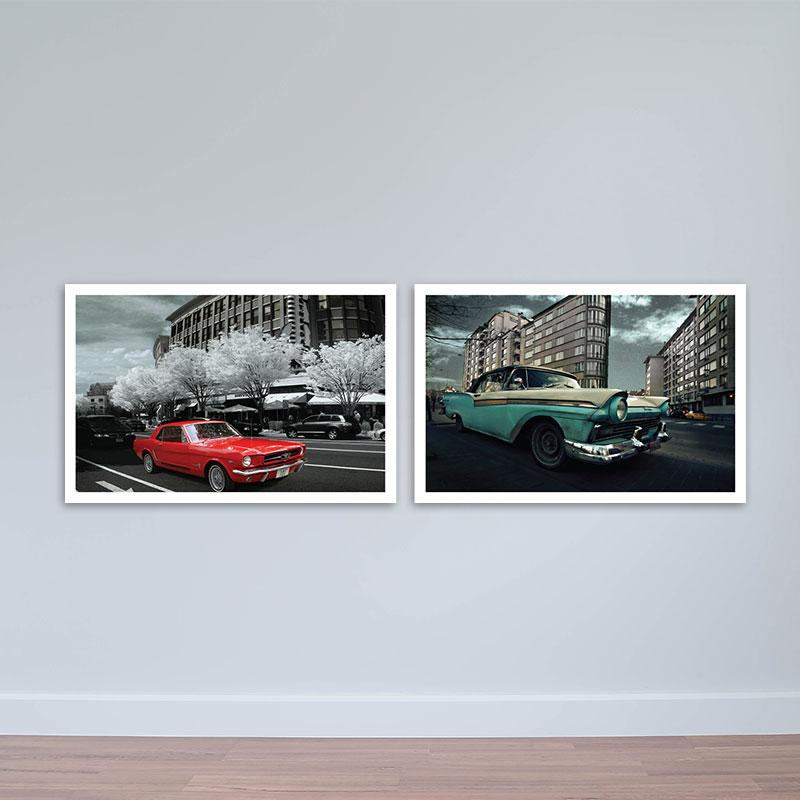 Tranh xe hơi cổ điển | Tranh scandinavian | Tranh gỗ nghệ thuật W1761