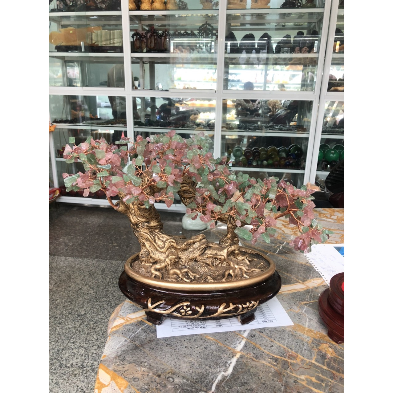 Cây tài lộc bonsai phong thủy đá thạch anh dâu tây xanh và hồng - Cao 30 cm