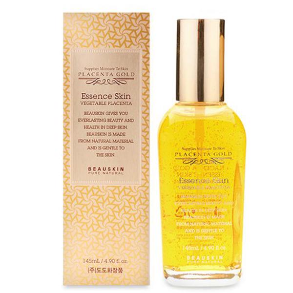 Nước hoa hồng chống lão hóa Beauskin Placenta Gold Essence Skin Toner Hàn Quốc 145ml + Móc khóa