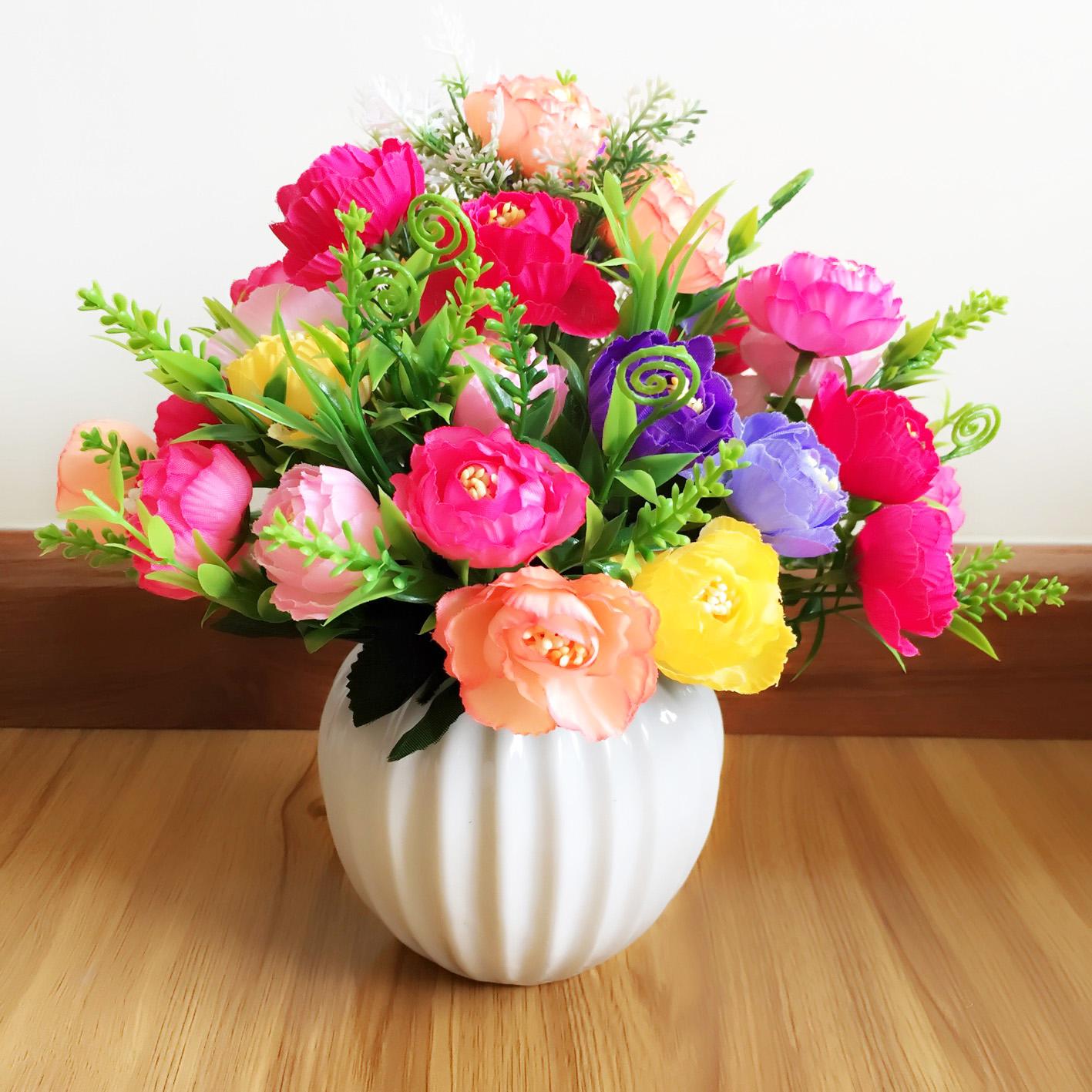 Bình hoa giả hoa hồng trà nhiều màu ZVGHHTN00014